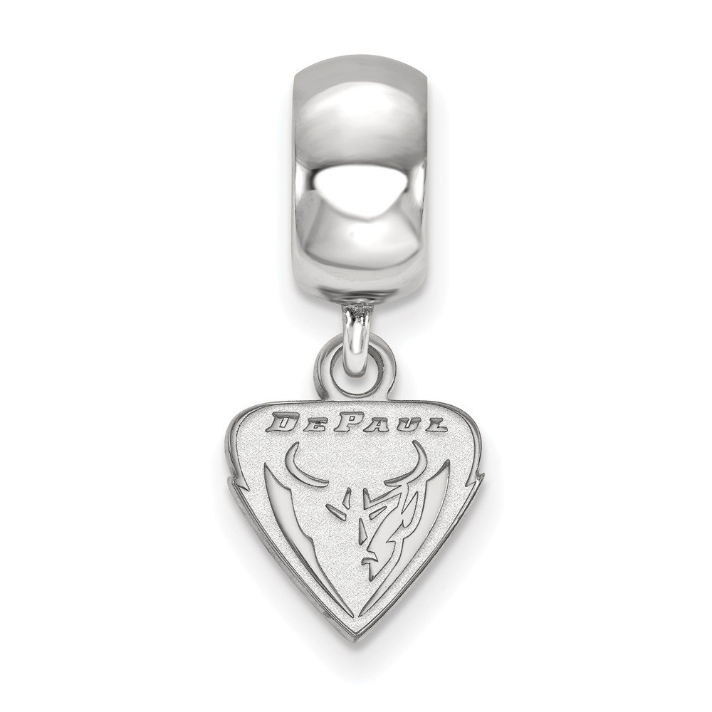 10mm x 22mm Solid 925 Sterling Silver DePaul University Extra Small Dangle Bead Charm Very Small Pendant Charm