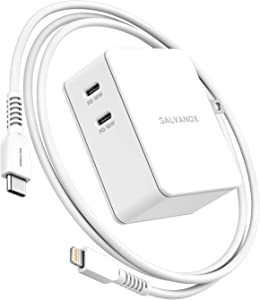 Galvanox PD Multi Port Charger for iPhone | Ultra Fast Charging Dual 18W Wall Adapter | Includes 2 Apple Certified USB C to Lightning Cables | 3pc Set, Rapid Charges 2 iPhones Simultaneously (36W)