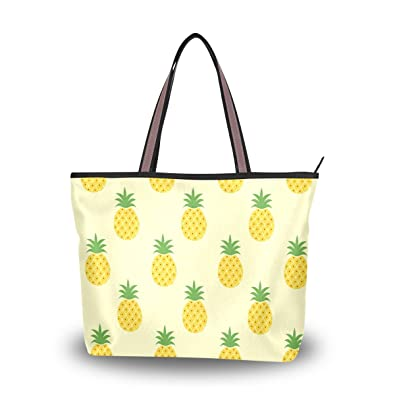 cdac6333a2 ALAZA Cute Summer Pineapple Large Tote Top Handle Shoulder Bags Handbags  for Women Ladies
