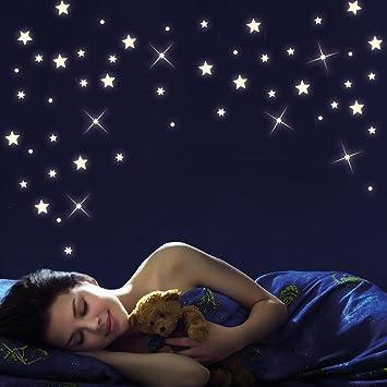 Kinderzimmer sternenhimmel  Wandtattoo Loft 40 Stück nachtleuchtende Sterne und Punkte für ...