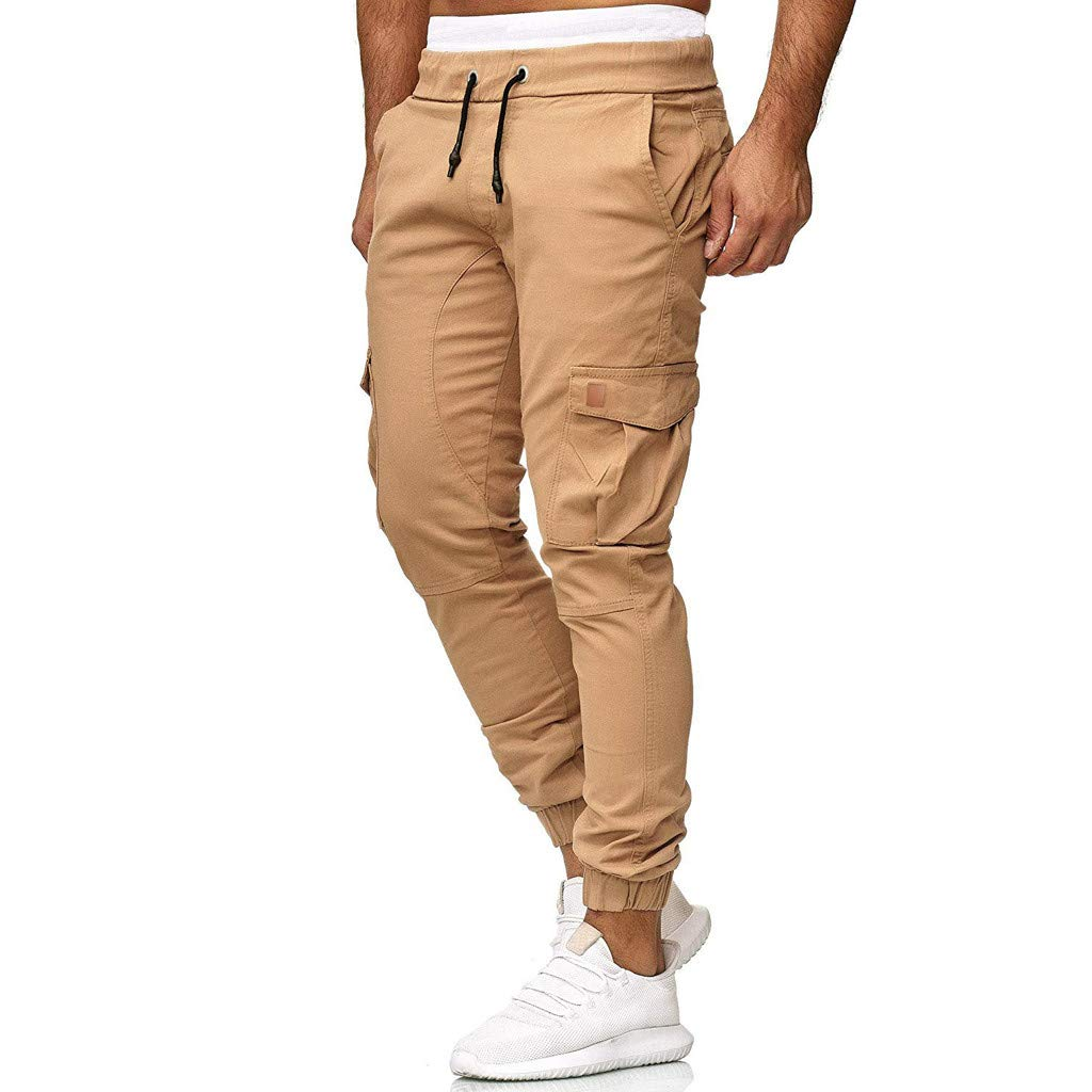 Clearance Sale! NDGDA Men Sweatpants Slacks Casual Elastic Joggings Sport Solid Baggy Pockets Trousers by NDGDA 🐬 Men's Pants