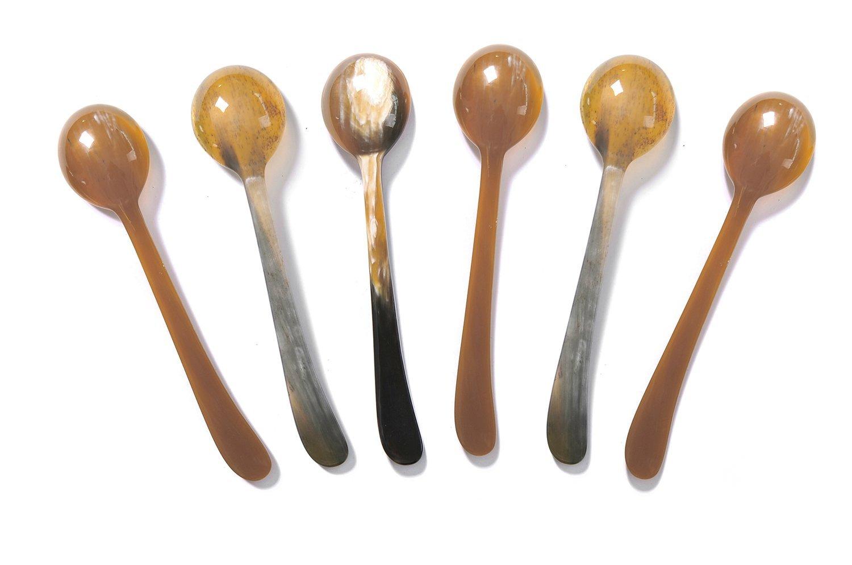 Marycrafts Set of 6 Long Buffalo Horn Caviar Mustard Jam Spoons