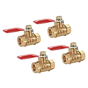 uxcell Brass Air Ball Valve Shut-Off Switch G1/8 Female to Female Pipe Tubing Fitting Coupler 180 Degree Operation Handle 4Pcs