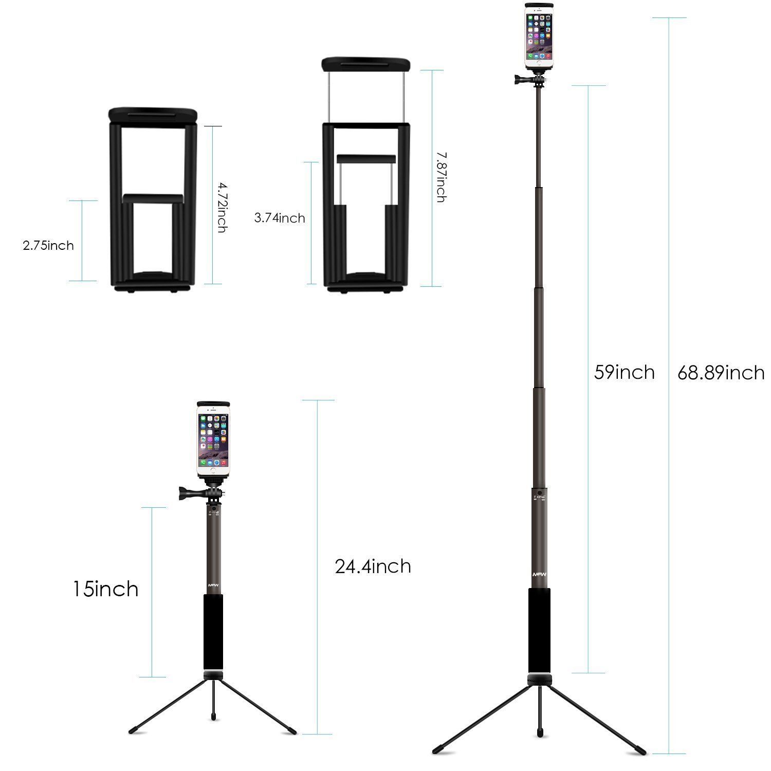 Bluetooth Selfie Stick with Tripod, Remote 59Inch MFW Extendable Monopod with Tripod Stand for iPhone X/8/7/6/Plus,Tablet,Samsung S7/S8,Android,GoPro Cameras by MFW (Image #6)