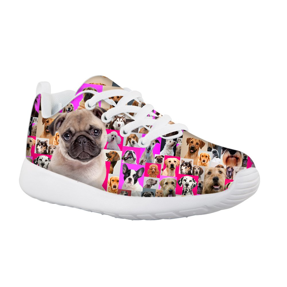 HUGS IDEA HUGSIDEA Cute Pug Pattern Kids Casual Sneakers Comfort Lace Up Sport Running Shoes For Girls