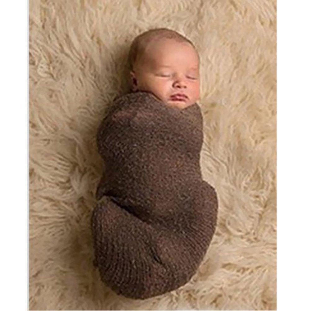 Pixnor Beb/é reci/én nacido fotograf/ía foto apoyos estirable punto Baby Swaddle Wrap manta rosa