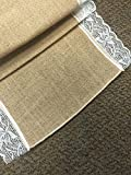 Perfectmaze - 03 Burlap and Lace Table Runner 16 Inches X 108 Inches (20, 16''x108'' White lace on both side)