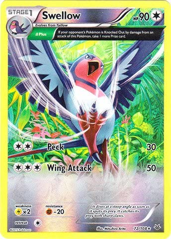 Pokemon Roaring Skies Swellow Holo Rare 72//108