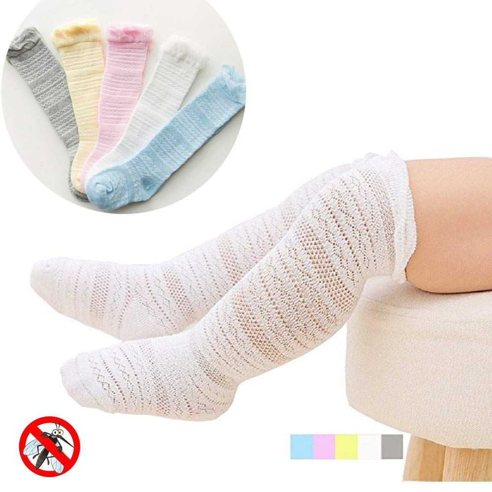 Baby Girls Boys Knee High Socks Toddler Eyelet Lace Socks 5 Pairs