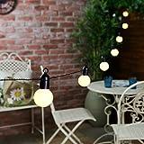 Guirlande Lumineuse Festive Solaire Guinguette 12 LED 6 Mètres Waterproof (Pile Rechargeable Incluse) (Blanc Chaud)