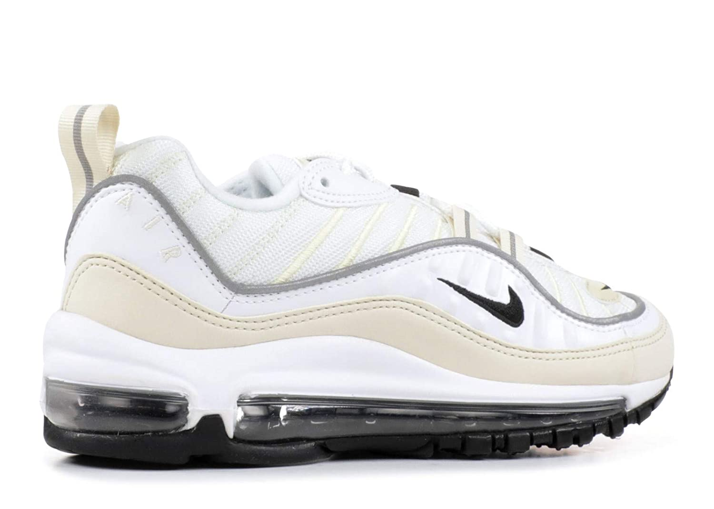 Nike Women's Air Max 98 White Black Fossil Ah6799 102 Size