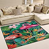 ALAZA Tropical Flower Flamingo Bird Palm Tree Hawaii Stylish Area Rug Rugs for Living Room Bedroom 7' x 5'