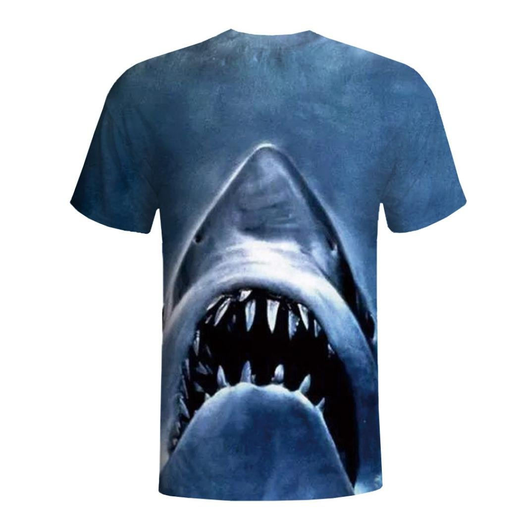 NREALY Mens Fashion 3D Printing Shirt Short Sleeve T-Shirt Blouse Tops Tee Vest