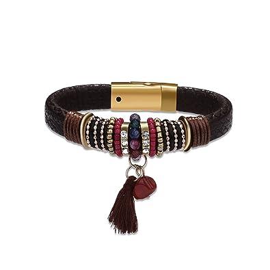 5165dfc8c61 Style Bracelet Cuir Tressé Perles Frange Ethnique Femme Homme Fantaisie  Noir Brun Rouge Largeur 1.1