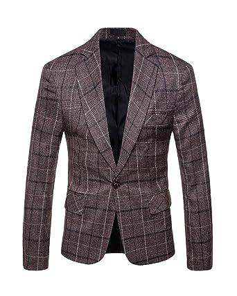 Vestito di Affari Cappotto Giacca Uomo Casual a Quadri