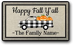 Personalized Family Name Text Happy Fall Yall Funny Cute Autumn Welcome Front Door Mat Truck Pumpkin Decor Doormat Outdoor, Indoor Decor Gift Floor Door Mat Area Rug 18x30 inch