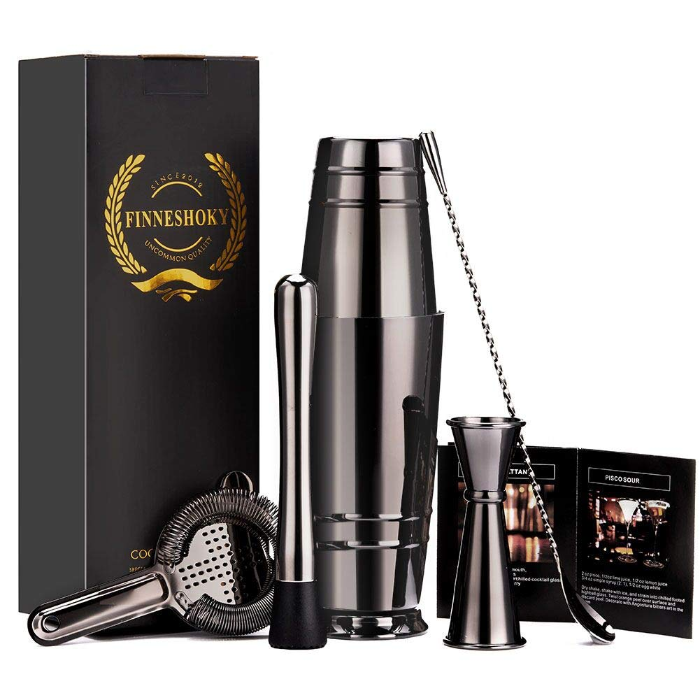 Finneshoky Black Plated Boston Cocktail Shaker Bar Set: 18oz & 28oz Boston Shaker Tin, Cocktail Strainer, Double Jigger, 12'' Mixing Spoon, 8'' Cocktail Muddler,Recipes and Greeting Card (Black)