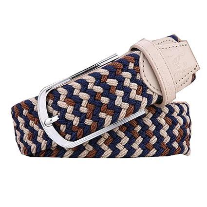 Belt Cinturones De Lona para Hombre Cinturones Tejidos Elásticos Cinturón  Casual Versátil para Mujer Hebilla De 917bffe55451