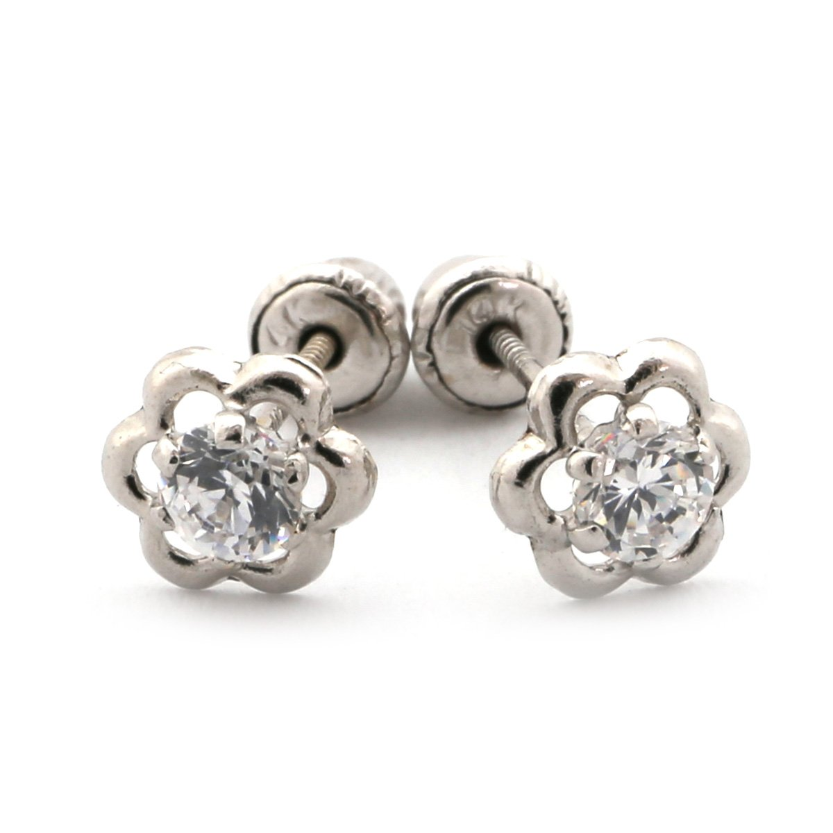 ec2e34593 Amazon.com: 14k White Gold Open Flower with White Cubic Zirconia Stud  Earrings with Child Safe Screwbacks: Jewelry