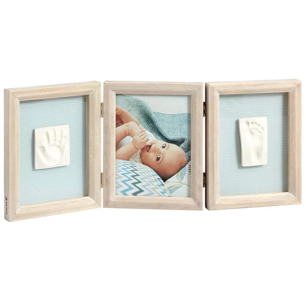 BABY ART - Cadre photo 3 volets avec 2 empreintes My baby touch bois cérusé product image