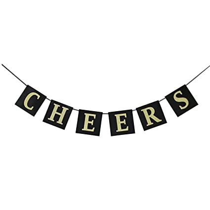 Amazon.com: Cheers Gold Glitter Banner for New Years Eve Celebration ...