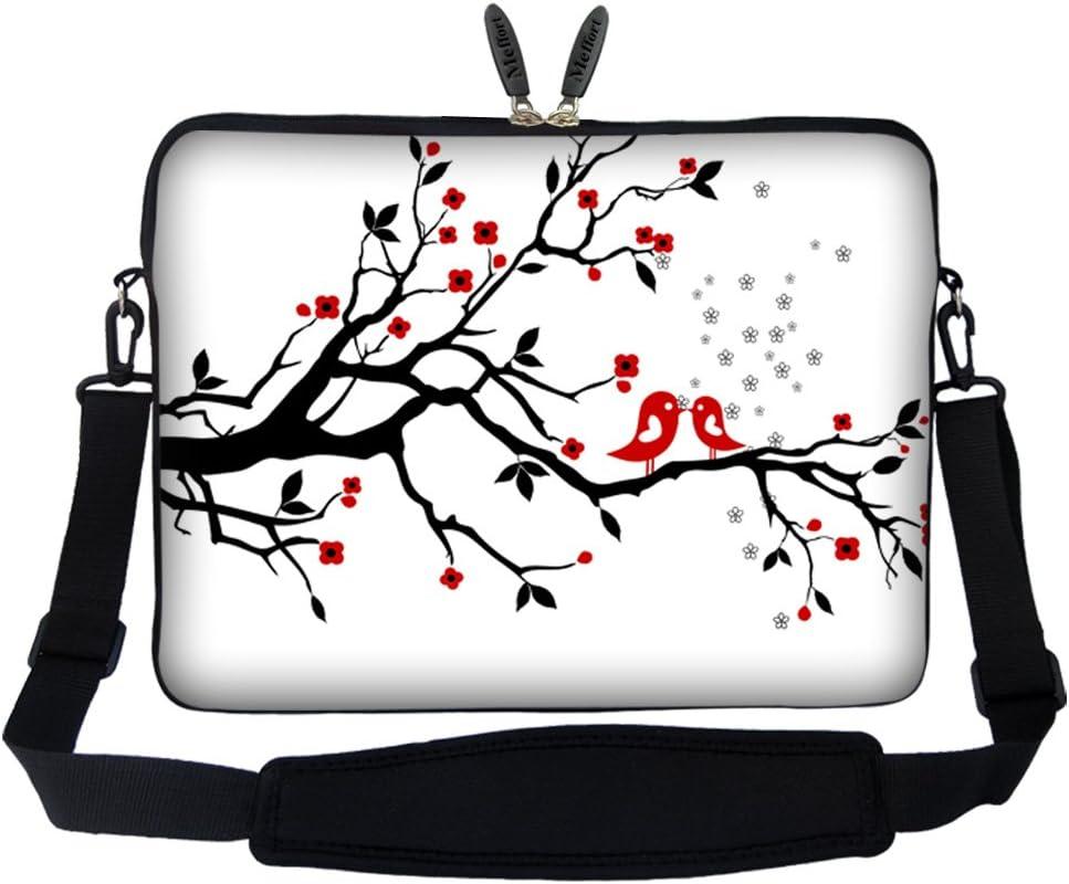 Meffort Inc 15 15.6 inch Laptop Sleeve Bag Carrying Case with Hidden Handle and Adjustable Shoulder Strap - Loving Bird Design