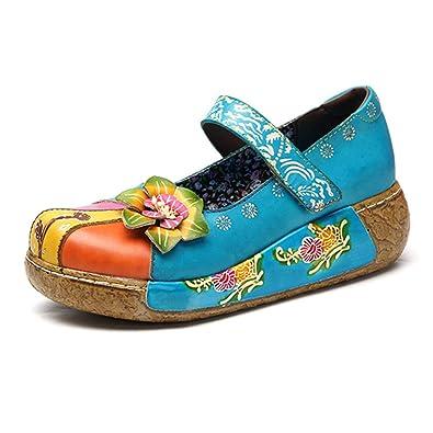 6f3543049219e4 Socofy Chaussures de Ville Femme Fille, Mary Jane en Cuir À Motif Fleurs  Talon Compensé