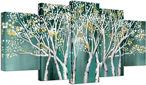 Welmeco 5 Pieces Canvas Wall Art Teal Tree