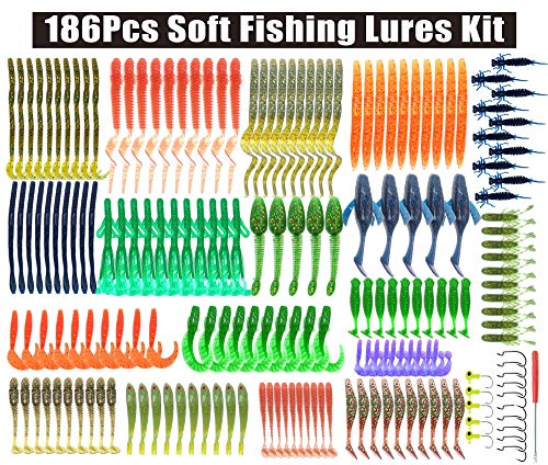 Soft Fishing Lures Kit,186pcs Fishing Baits Tackle Set Crawfish Senko Stick Paddle Tail Glitter Soft Lures Baits Earthworm Artificial Bait Worms Weedless Rig for Freshwater Saltwater Bass Trout Walley