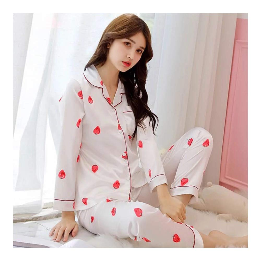 ac9ab85ae5 HAOLIEQUAN Elegante De Lujo Mujeres Pijama De Seda Cómodo Conjunto De Pijama  De Impresión Chica Conjunto De Manga Larga Pijama Traje Mujeres Camisón  ...