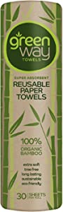 Greenway Towels - Bamboo Paper Towels - Reusable - Eco Friendly Products - Designed in USA - Washable Cloth - Heavy Duty - Environmentally Friendly Napkins - Tree Free Bamboo Paper Towels