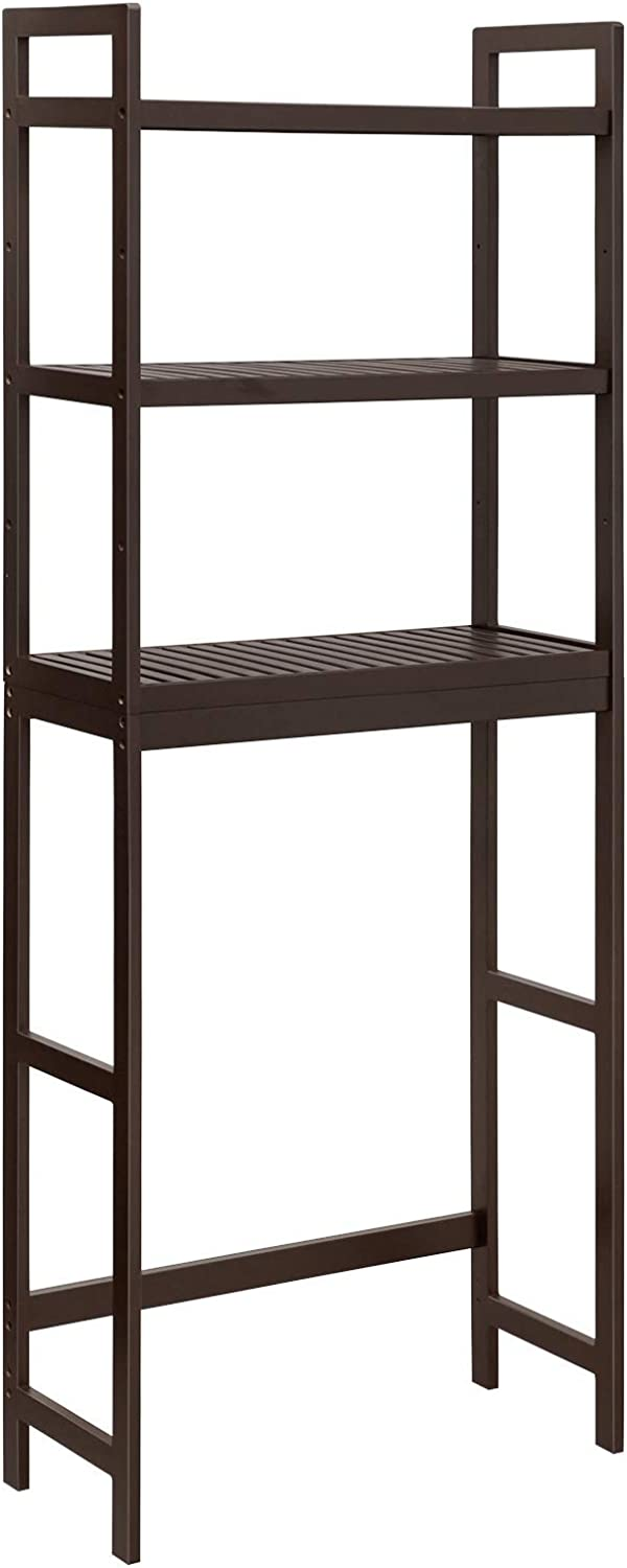 SONGMICS Over-The-Toilet Storage, 3-Tier Bamboo Bathroom Organizer with Adjustable Shelves, Space Saver Toilet Rack, Load Capacity 33 lb per Tier, Easy to Assembly, Brown UBTS01BR