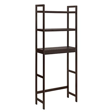 SONGMICS Over-The-Toilet Storage, 3-Tier Bathroom Organizer with Adjustable Shelves, Space Saver Toilet Rack, Load Capacity 33 lb per Tier, Easy to Assembly, Bamboo Brown UBTS01BR
