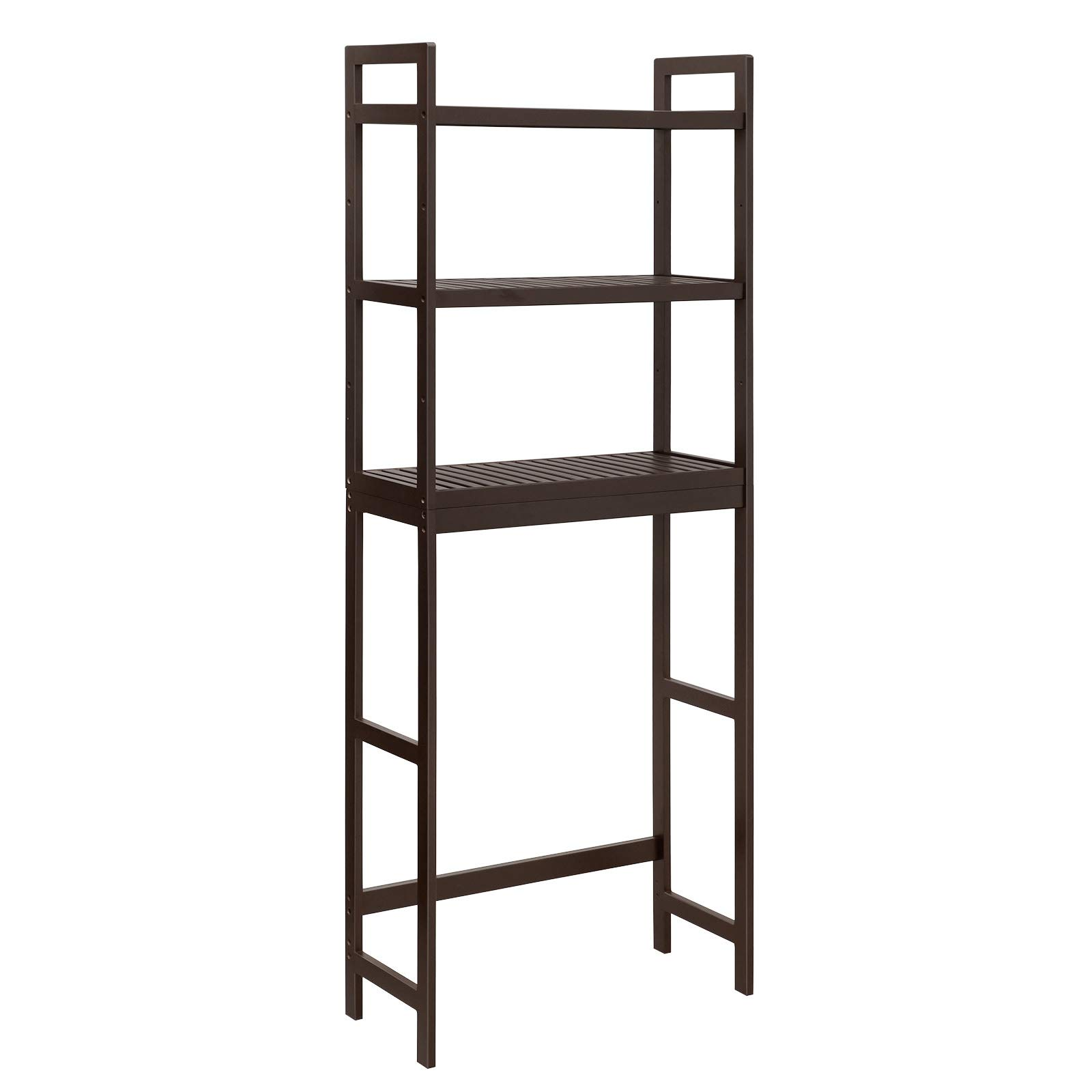 SONGMICS Over-The-Toilet Storage, 3-Tier Bathroom Organizer with Adjustable Shelves, Space Saver Toilet Rack for Bath Essentials, Load Capacity 33 lb per Tier, Easy to Assembly, Bamboo Brown UBTS01BR