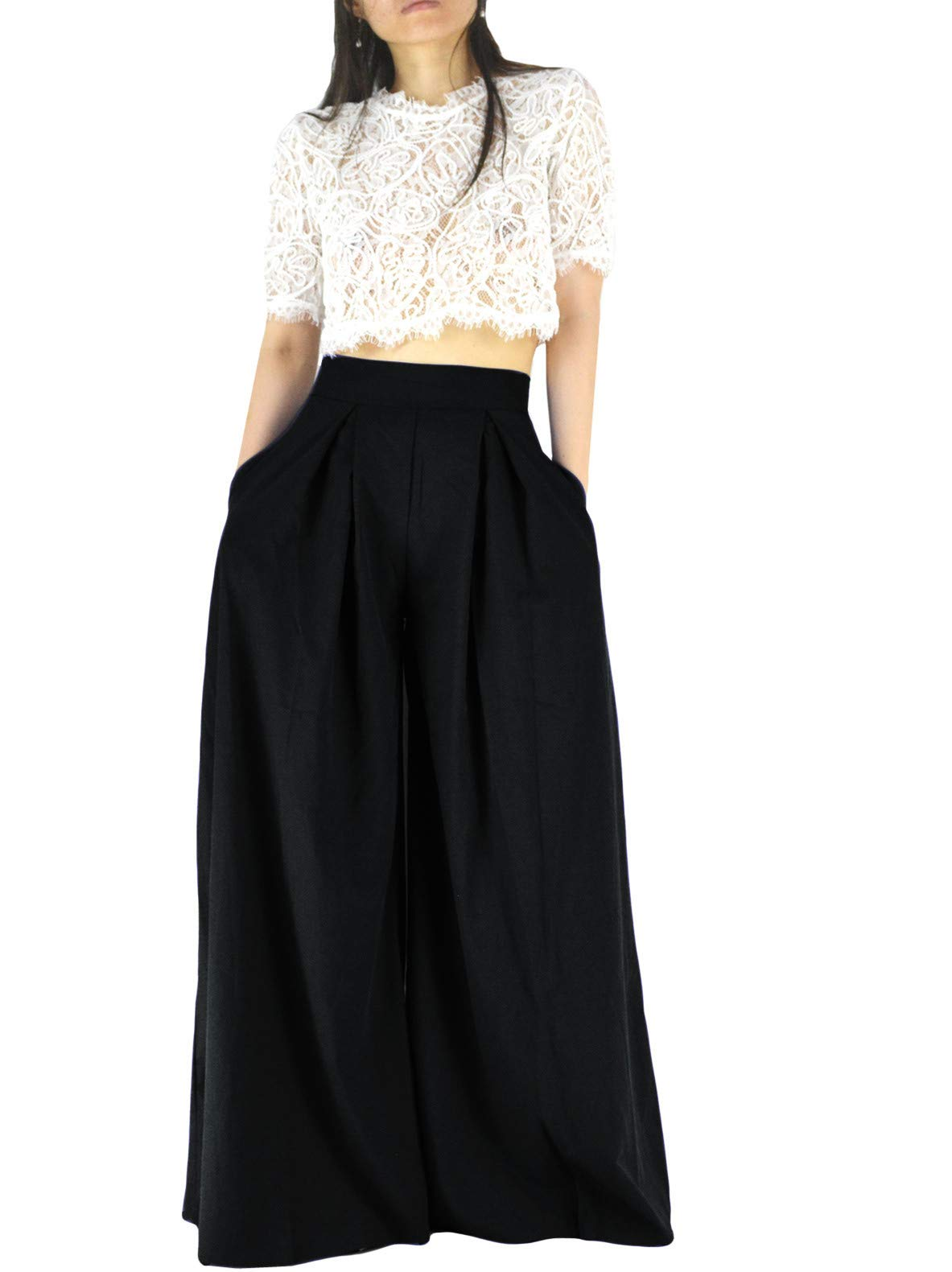 YSJERA Women's Sexy Semi Sheer Short Sleeve Lace Crop Top w/High Waist Palazzo Pants 2 Pieces Jumpsuits (Black, S)