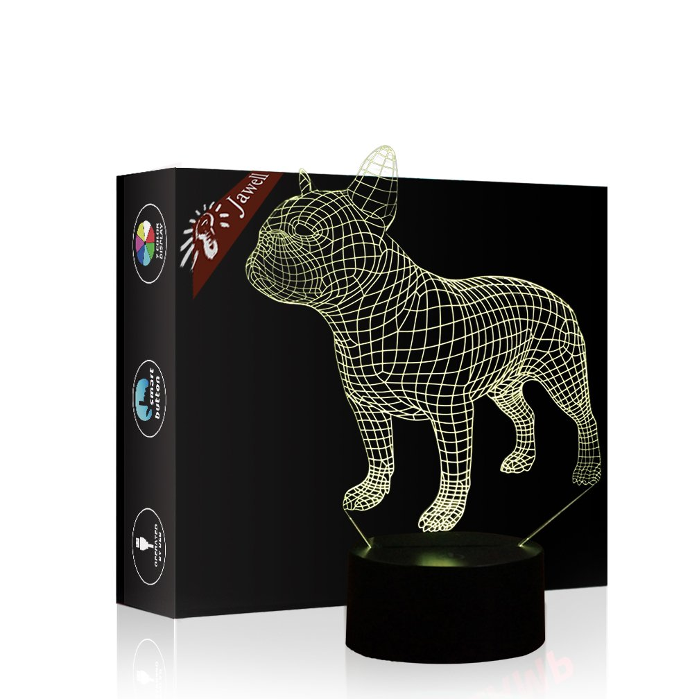 3D illusione lampada luce notturna, Jawell 7 cambia colore touch interruttore decorazione da tavolo lampade regalo di Natale con base in ABS e acrilico piatto cavo USB e giocattolo per fan basket Lover French Bulldog Lamp JW-French Bulldog