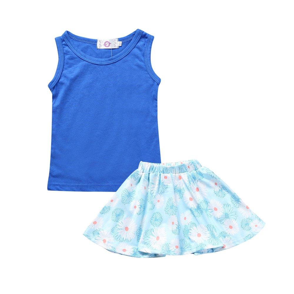 Kids Tales Little Girls 2 Piece Blue Vest and Short Skirt Dress Set