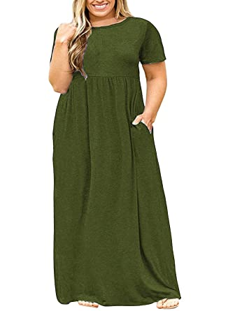 5667cff539 Yskkt Womens Plus Size Maxi Dresses Casual Summer Short Sleeve Plain T  Shirts Loose Flowy Long Dress with Pockets at Amazon Women's Clothing store: