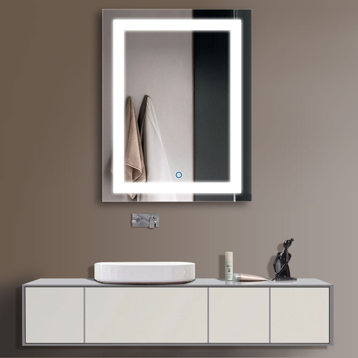 HYH Vertical LED Bathroom Silvered Mirror with Touch Button,3628 in.(DK-OD-CK168-I)