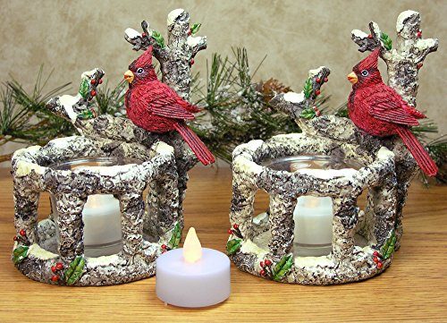 Cardinal Candle Holders - Set of 2 Red Cardinals Sitting on Birch Branches with 2 White Flameless Tealight Candles Included - Cardinal Decorations Woodsy Christmas