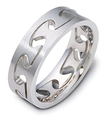 Mens 18k White Gold Puzzle Ring 6mm Band Amazon Com