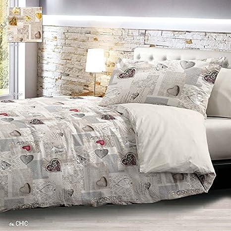 new style ec38f 076e8 Trapunta Invernale Matrimoniale Shabby Chic Grigio Cuori Cuore 2 piazze  255x265 cm Microfibra Lavabile in Lavatrice
