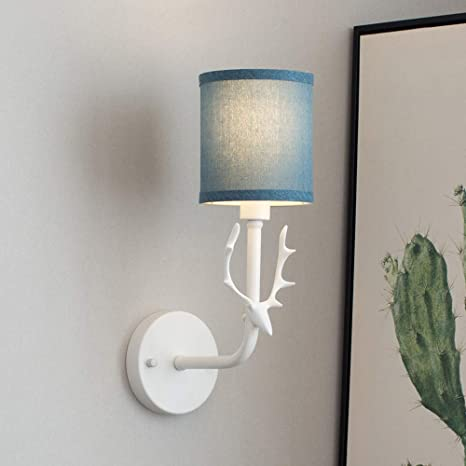 Iyoee Wall Sconce Lamps Lighting Fixture White Lucky Deer Headlight E12 Edison Blue Linen Lampshade With Black Painting Lamp Body Bedroom Bedside Lamp
