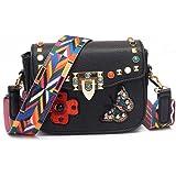 handbags women crossbody bags Rivet shoulder bags Embroidered flowers messenger bags