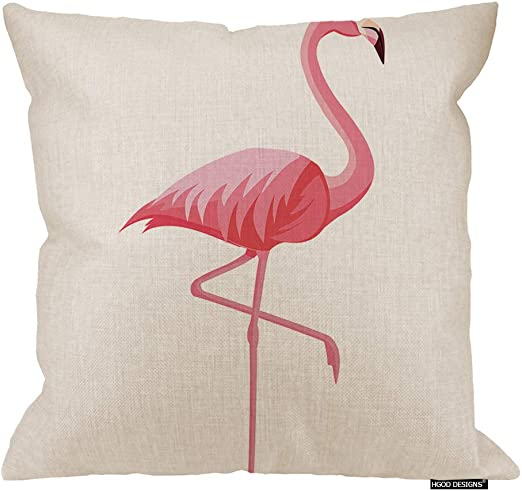 Hgod Designs Flamingo Decor Throw Pillow Cushion Cover Summer Pink Flamingo Cotton Linen Decorative Square Accent Pillow Case 24 X 24 Inches Home Kitchen