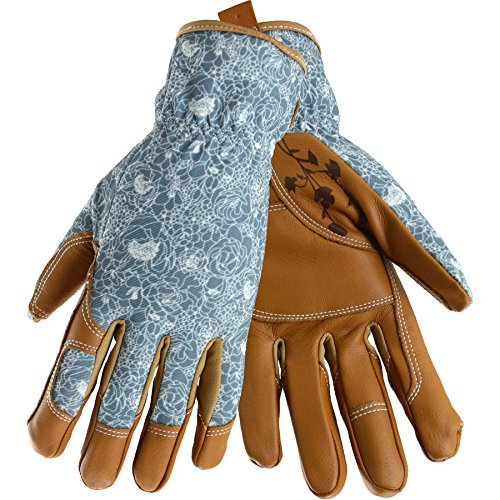 Style Selections Womens Medium Beige/Turquoise Leather Garden Gloves by Style Selections