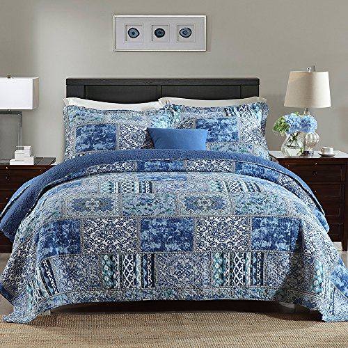NEWLAKE Cotton Bedspread Quilt Sets-Reversible Patchwork Coverlet Set, Blue Classic Bohemian Pattern,Queen Size (Cheap Quilts)