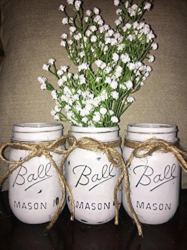 Decorative Mason Jars (Distressed Pewter Grey Chalk Painted Ball Mason Jars (Set of 3))