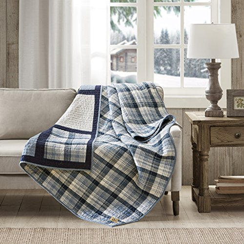 Woolrich Huntington Luxury Oversized Cotton Quilted Throw Blue 50x70 Plaid Premium Soft Cozy 100% Cotton for Bed, Couch or Sofa