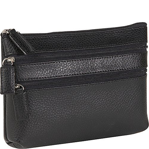 Budd Leather Pebble Grained Leather Triple Zip Cosmetic Case (Black) (Bag Grained Leather)